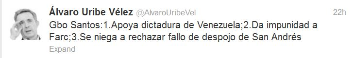 Another of Alvaro Uribe's tweets