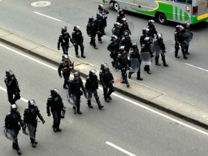 Riot police have been out in force recently in Bogota